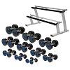 Sport-Thieme Compact PU Dumbbell Set, 2.5–22.5 kg, incl. double dumbbell stand