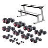 Sport-Thieme® Compact Rubber Dumbbell Set, 1-25 kg, incl. double dumbbell stand