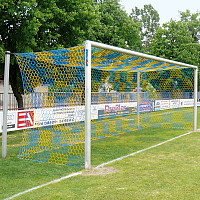 Aluminium Football Goal, 7.32x2.44 m, Socketed with Free Net Suspension