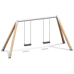 Playparc Doppelschaukel Holz/Metall