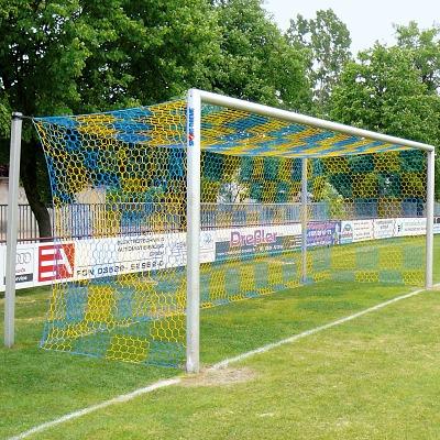 Alu-Fußballtor 7,32x2,44 m, in Bodenhülsen stehend mit freier Netzaufhängung, Weiß einbrennlackiert , Integrale Netzbefestigung