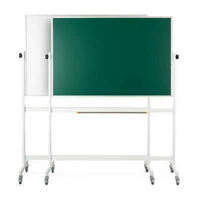 Drehgestelltafel, fahrbar, Kreidetafel/Whiteboard, 150x100 cm