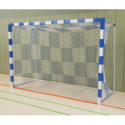 Sport-Thieme Hallenhandballtor 3x2 m, frei stehend mit feststehenden Netzbügeln, Blau-Silber, Verschweißte Eckverbindungen
