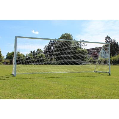 Sport-Thieme Großfeld-Fußballtor mit klappbarem Netzbügel und Bodenrahmen, Weiß, Simply-Fix