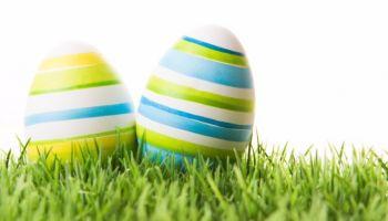 Fröhliche Ostern und ein Nest voller bunter Ostereier