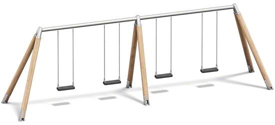 Playparc Vierfachschaukel Holz/Metall Aufhängehöhe 260 cm