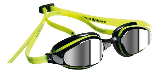 """Aqua Sphere® MP™ Schwimmbrille """"K180 Mirrored"""" Schwarz/Gelb"""