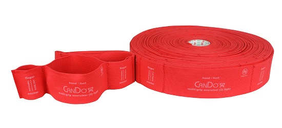 "CanDo® Multi-Grip™ Fitnessband ""Exerciser Rolle"" Rot, medium"