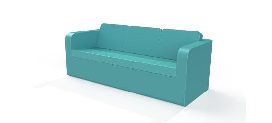 Chatsworth møbler med vinyl betræk Lav ryg, 3er sofa med armlæn
