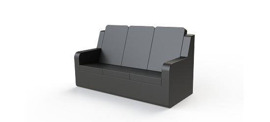 Chatsworth møbler med vinyl betræk Høj ryg, 3er sofa med armlæn