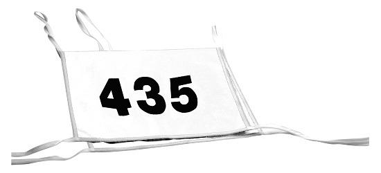 Doppel-Startnummern mit Paspelbändchen Zahlen 3-stellig, Weiß