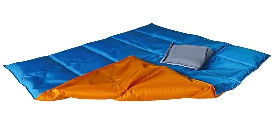 Enste® Schwere Decke/Gewichtsdecke 90x72 cm / Orange-Blau, Außenhülle Suratec