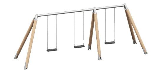 Playparc Dreifachschaukel Holz/Metall Aufhängehöhe 220 cm