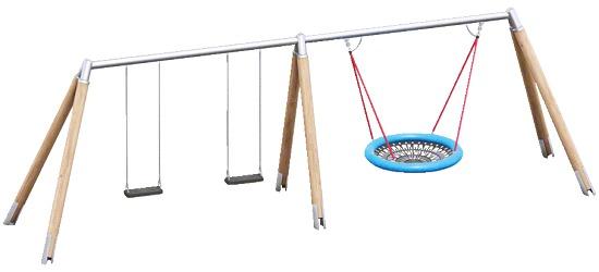 Playparc Kombischaukel Holz/Metall mit Vogelnest Aufhängehöhe 220 cm