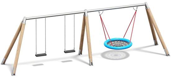 Playparc Kombischaukel Holz/Metall mit Vogelnest Aufhängehöhe 260 cm