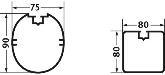 Sikkerhedsforankrings-system 80x40 mm. Kvadratprofil 80x80 cm.