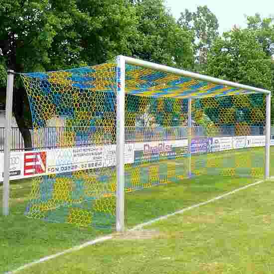 11-mands Alu-Fodboldmål i jordbøsninger, med frit netophæng Matsølv eloxeret, Netbøjler