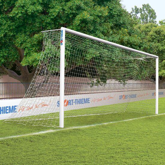 Alu-Fußballtor, 7,32x2,44 m, verschraubte Gehrung, in Bodenhülsen stehend Weiß einbrennlackiert