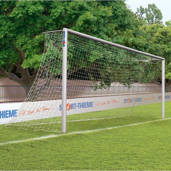 Alu-Fußballtor, 7,32x2,44 m, verschraubte Gehrung, in Bodenhülsen stehend Mattsilber eloxiert
