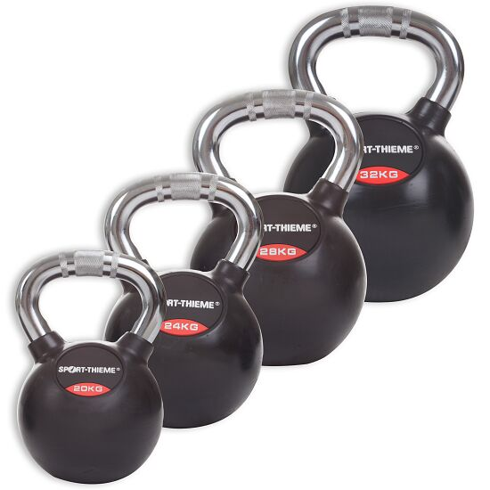 Sport-Thieme® Kettlebell Set gummiert mit Chrom-Griff Schwer