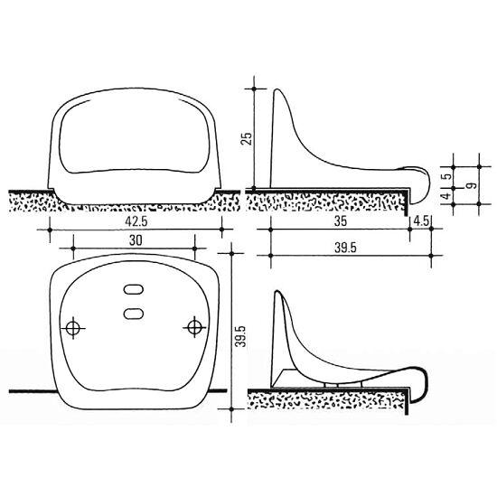 Sport-Thieme® Tribünensitz kurz Rot