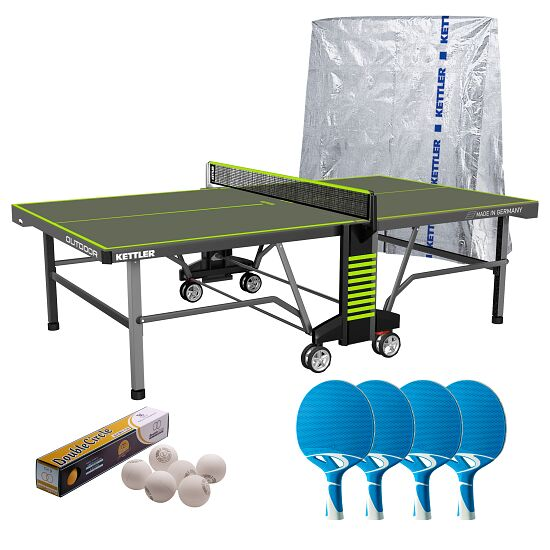 """Kettler® Tischtennis-Set """"Outdoor 10"""" Umbra/Grün"""