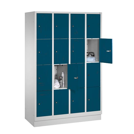 """Fächerschrank """"S 3000 Evolo"""" mit Sockel (4 Fächer übereinander) 180x119x50 cm/ 16 Fächer, Enzianblau (RAL 5010)"""