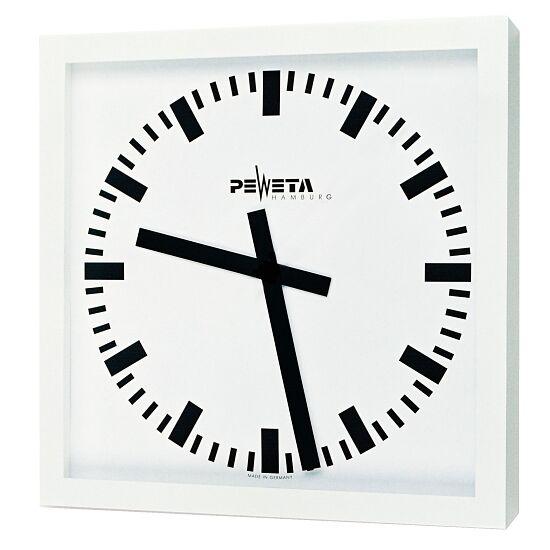 Peweta® Großraum-Wanduhr 50x50 cm, Batteriebetrieb Standard, Zifferblatt DIN-Balken