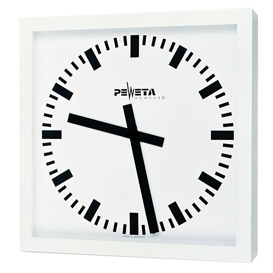 Peweta® Großraum-Wanduhr 50x50 cm, Netzbetrieb Standard, Zifferblatt DIN-Balken