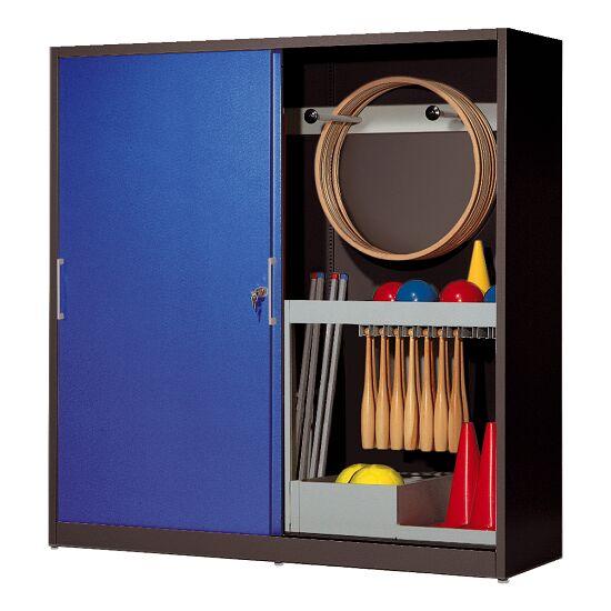 Sportgeräteschrank, HxBxT 195x200x60 cm, mit Vollblech-Schiebetüren (Typ 5) Enzianblau (RAL 5010), Anthrazit (RAL 7021)