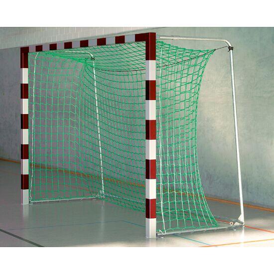 Hallenhandballtor 3x2 m Mit anklappbaren Netzbügeln, Rot-Silber