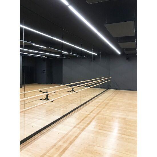 Spiegelwand mit integrierten Ballettstangen Doppelstange à 3 m und 2 Halter, 3,00x2,00 m