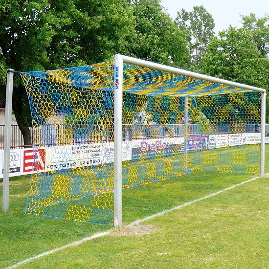 Alu-Fußballtor 7,32x2,44 m, in Bodenhülsen stehend mit freier Netzaufhängung Mattsilber eloxiert , Netzhalter