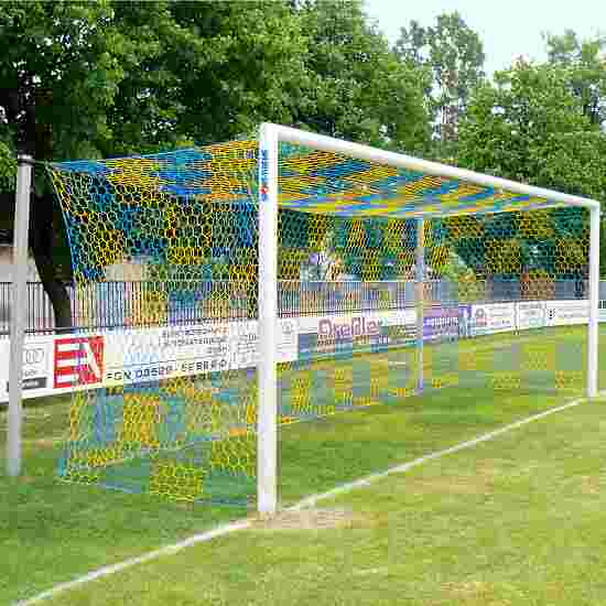 Alu-Fußballtor 7,32x2,44 m, in Bodenhülsen stehend mit freier Netzaufhängung Weiß einbrennlackiert , Netzhalter