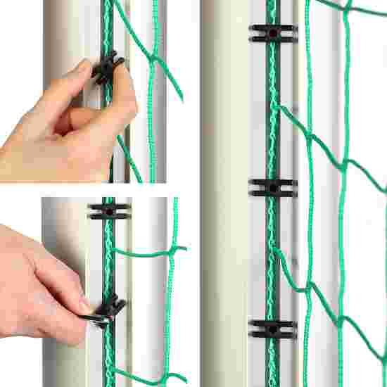 Aluminium Football Goal, 7.32x2.44 m, Socketed with Free Net Suspension Anodised matt silver, Net hooks