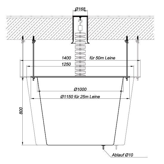 Auffangbehälter für Bodendurchführungen Für 25 m Schwimmleinen