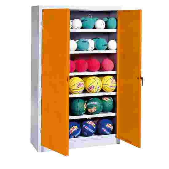 Ball Cabinet, HxWxD 195x120x40 cm, with Sheet Metal DoubleDoors (type 3) Yellow orange (RAL 2000), Light grey (RAL 7035)