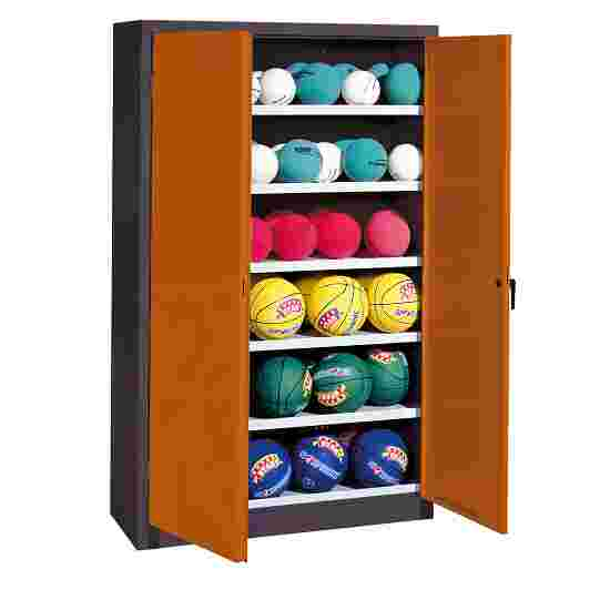 Ball Cabinet, HxWxD 195x120x40 cm, with Sheet Metal DoubleDoors (type 3) Sienna red (RDS 050 40 50), Anthracite (RAL 7021)