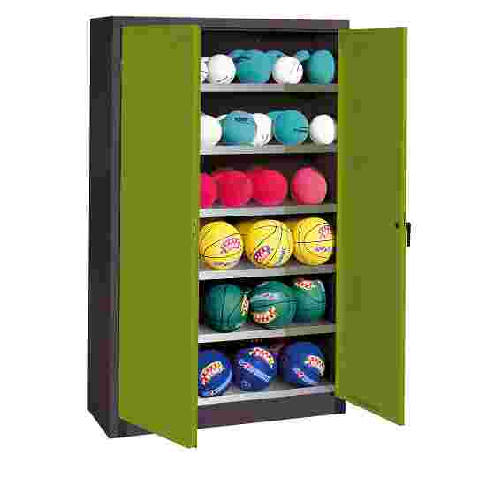 Ball Cabinet, HxWxD 195x120x40 cm, with Sheet Metal DoubleDoors (type 3) Viridian green (RDS 110 80 60), Anthracite (RAL 7021)