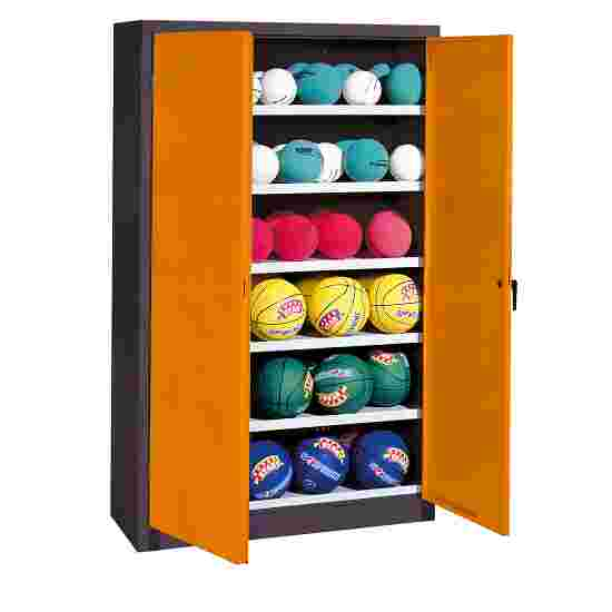 Ball Cabinet, HxWxD 195x120x40 cm, with Sheet Metal DoubleDoors (type 3) Yellow orange (RAL 2000), Anthracite (RAL 7021)