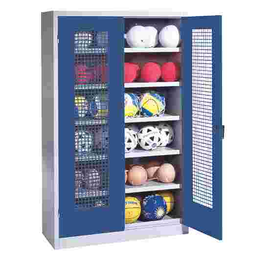Ball Cabinet, HxWxD 195x120x50 cm, with Perforated Metal Double Doors (type 3) Gentian blue (RAL 5010), Light grey (RAL 7035)