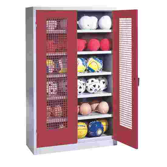 Ball Cabinet, HxWxD 195x120x50 cm, with Perforated Metal Double Doors (type 3) Ruby red (RAL 3003), Light grey (RAL 7035)