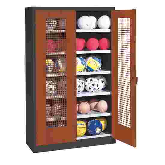 Ball Cabinet, HxWxD 195x120x50 cm, with Perforated Metal Double Doors (type 3) Sienna red (RDS 050 40 50), Anthracite (RAL 7021)
