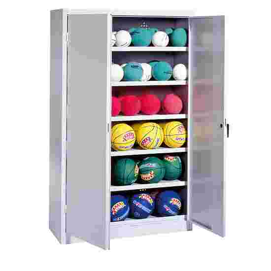 Ball Cabinet, HxWxD 195x120x50 cm, with Sheet Metal Wing Doors (type 3) Light grey (RAL 7035), Light grey (RAL 7035)