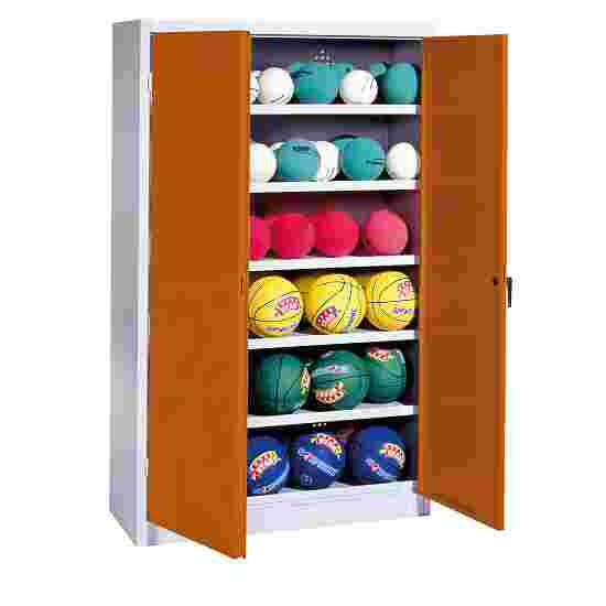 Ball Cabinet, HxWxD 195x120x50 cm, with Sheet Metal Wing Doors (type 3) Sienna red (RDS 050 40 50), Light grey (RAL 7035)