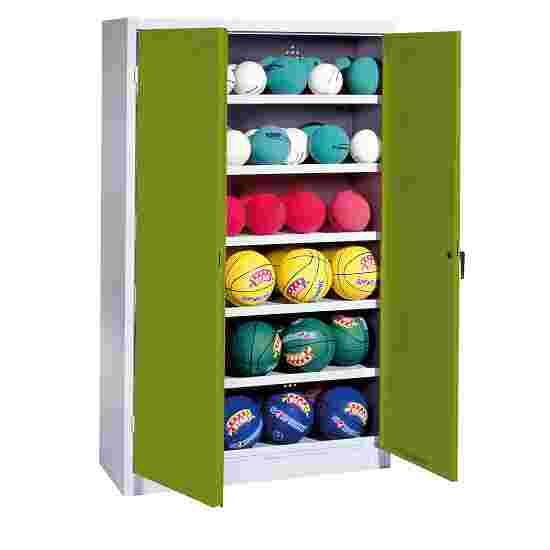 Ball Cabinet, HxWxD 195x120x50 cm, with Sheet Metal Wing Doors (type 3) Viridian green (RDS 110 80 60), Light grey (RAL 7035)