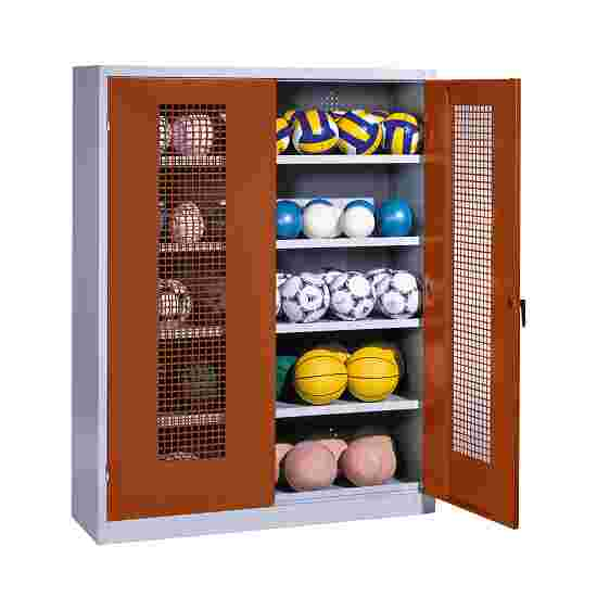 Ball Cabinet, HxWxD 195x150x50 cm, with Perforated Metal Double Doors (type 3) Sienna red (RDS 050 40 50), Light grey (RAL 7035)