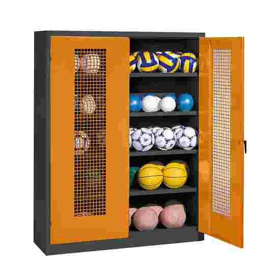 Ball Cabinet, HxWxD 195x150x50 cm, with Perforated Metal Double Doors (type 3) Yellow orange (RAL 2000), Anthracite (RAL 7021)