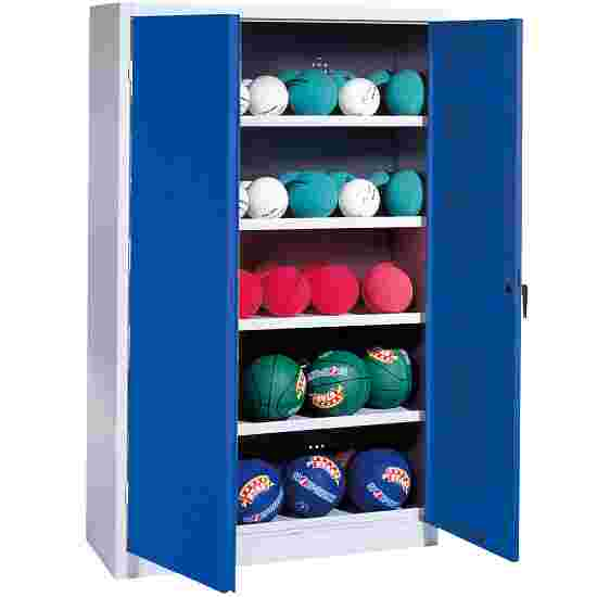 Ball Cabinet, HxWxD 195x150x50 cm, with Sheet Metal Double Doors (type 3) Gentian blue (RAL 5010), Light grey (RAL 7035)