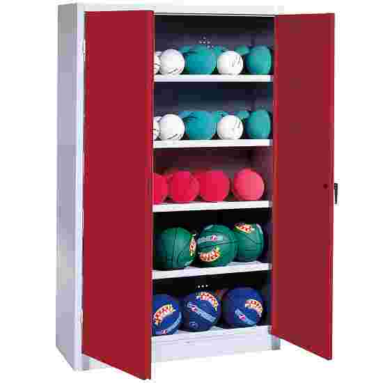 Ball Cabinet, HxWxD 195x150x50 cm, with Sheet Metal Double Doors (type 3) Ruby red (RAL 3003), Light grey (RAL 7035)